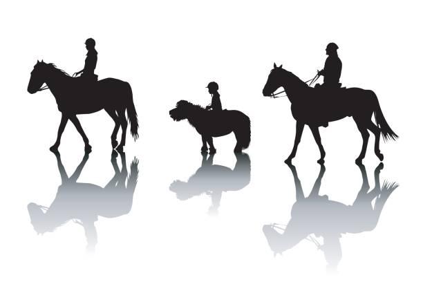 familie reitpferde und ponys - reiter stock-grafiken, -clipart, -cartoons und -symbole