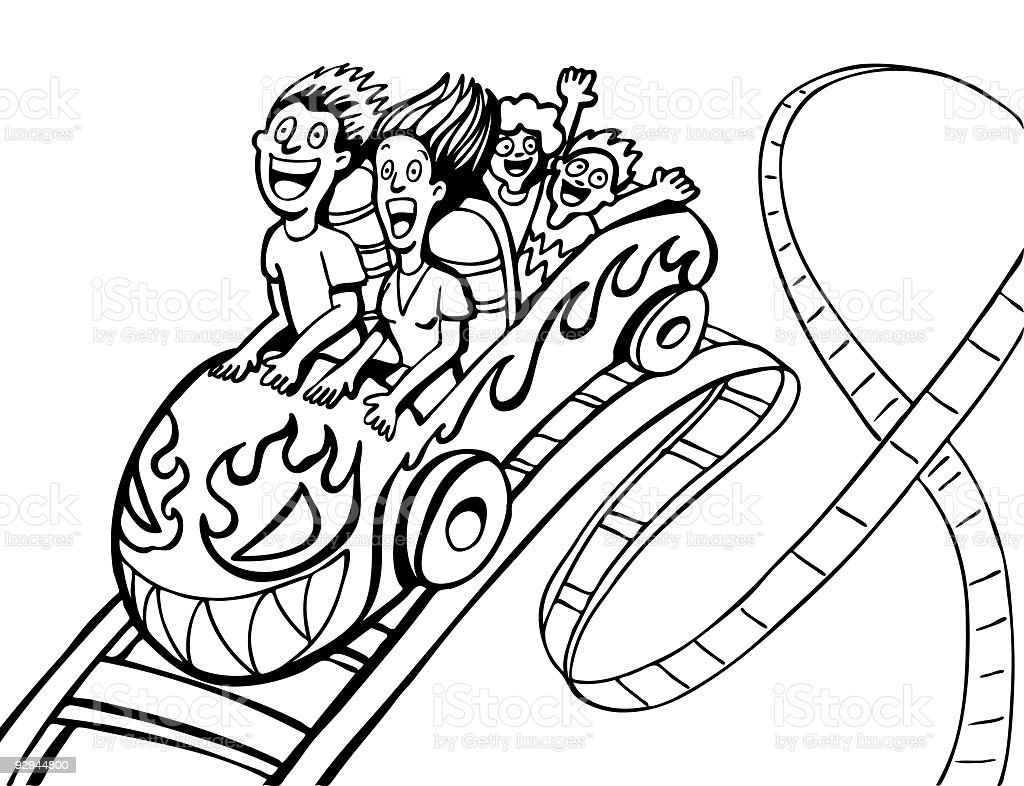 Family Riding Rollercoaster Line Art royalty-free family riding rollercoaster line art stock vector art & more images of adult