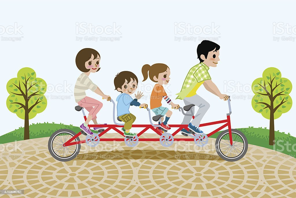 Family riding Tandem Bicycle, in the park royalty-free stock vector art