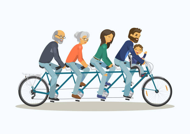 family riding tandem - old man on bike stock illustrations, clip art, cartoons, & icons