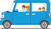 Family riding the Blue car,Side view - Isolated
