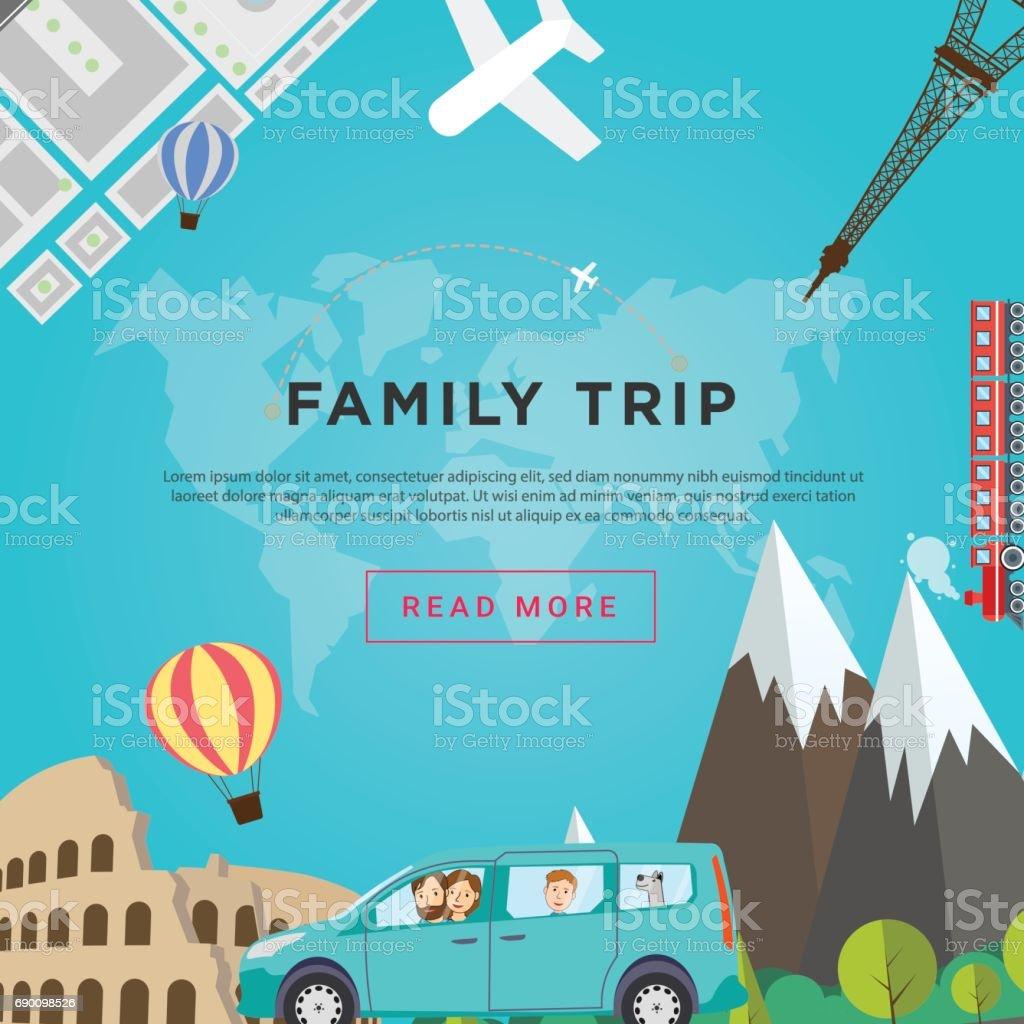 Concepto viaje familiar. Viaje de familia feliz con el perro a través de Europa por el coche. Ilustración de vector plano. - ilustración de arte vectorial