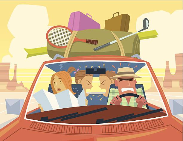 Road Trip EN FAMILLE C - Illustration vectorielle