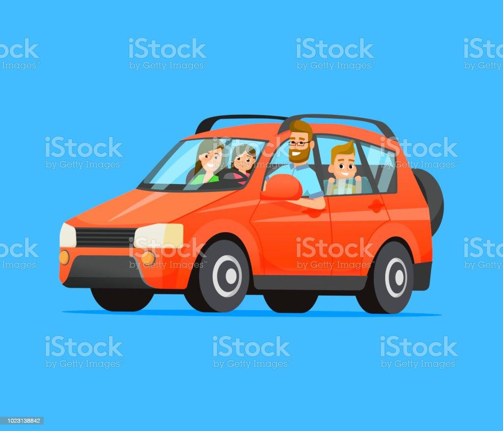 Familie Roadtrip. Glückliche Familie mit dem Auto anreisen. Vater, Mutter, Sohn und Tochter. Familienreisen auf ein rotes Auto. Flache Vektorgrafik. – Vektorgrafik