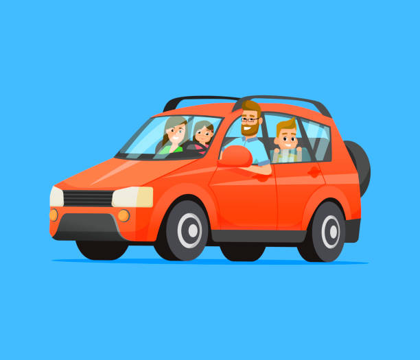 family road trip. happy family traveling by car. father, mother, son and daughter. family travel on a red car. vector flat style illustration. - family trips stock illustrations