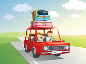 Happy family road trip. travel by car with kids. Vector, illustration.