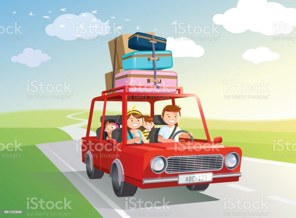 Viaje familiar. viajar en coche con niños. Vector, Ilustración. - ilustración de arte vectorial