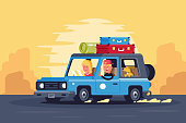 Family road trip with dog on classic car and things on the roof. Concept man, woman, pet on journey, traveling.Vector illustration.