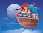 vector illustration of happy family sailing…