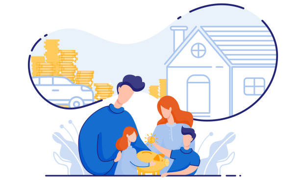illustrations, cliparts, dessins animés et icônes de famille économise de l'argent acheter maison et voiture. vecteur. - child car sleep