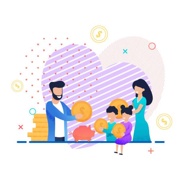 Familie spaltet Geld zusammen mit Karikaturenbild – Vektorgrafik