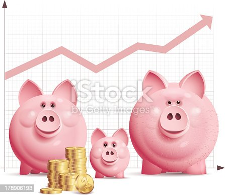 Three vector piggy bank with a pile of coins and chart.