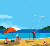 Family seaside leisure relax. Ocean scene view landscape. Hand drawn pop art retro style. Holiday vacation season sea travel leisure. Sea beach recreation. Vector tourist trip advertisement background