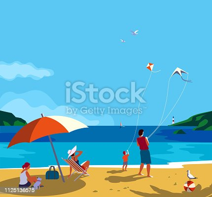 Family seaside leisure relax. Ocean scene view landscape. Hand drawn pop art retro style. Holiday vacation season sea travel leisure. Sea beach recreation. Vector tourist trip advertisement background