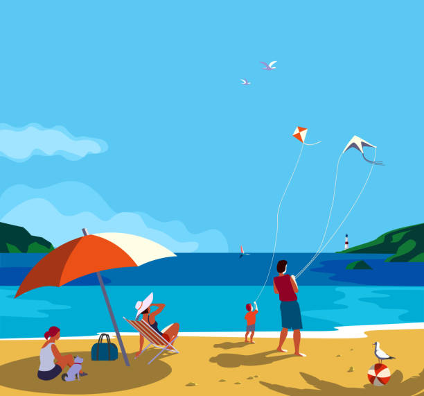 family seaside leisure relax - beach stock illustrations