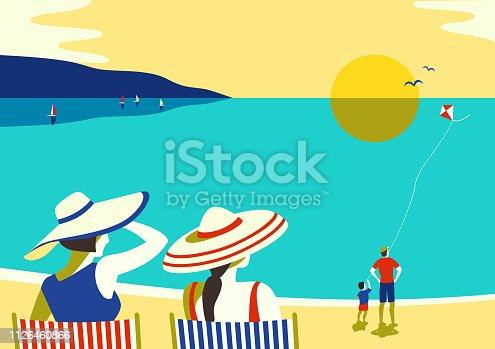 Family seaside leisure relax. Ocean scene view landscape. Hand drawn retro cartoon. Holiday vacation season sea travel leisure. Parents and childs sea beach recreation. Vector tourist advertisement