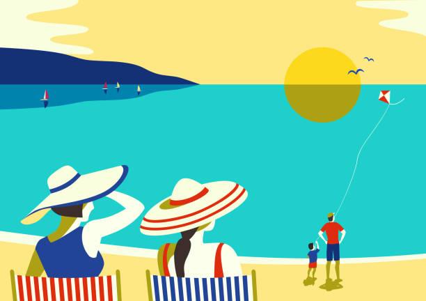 ilustraciones, imágenes clip art, dibujos animados e iconos de stock de ocio familiar playa relax - vacaciones familiares