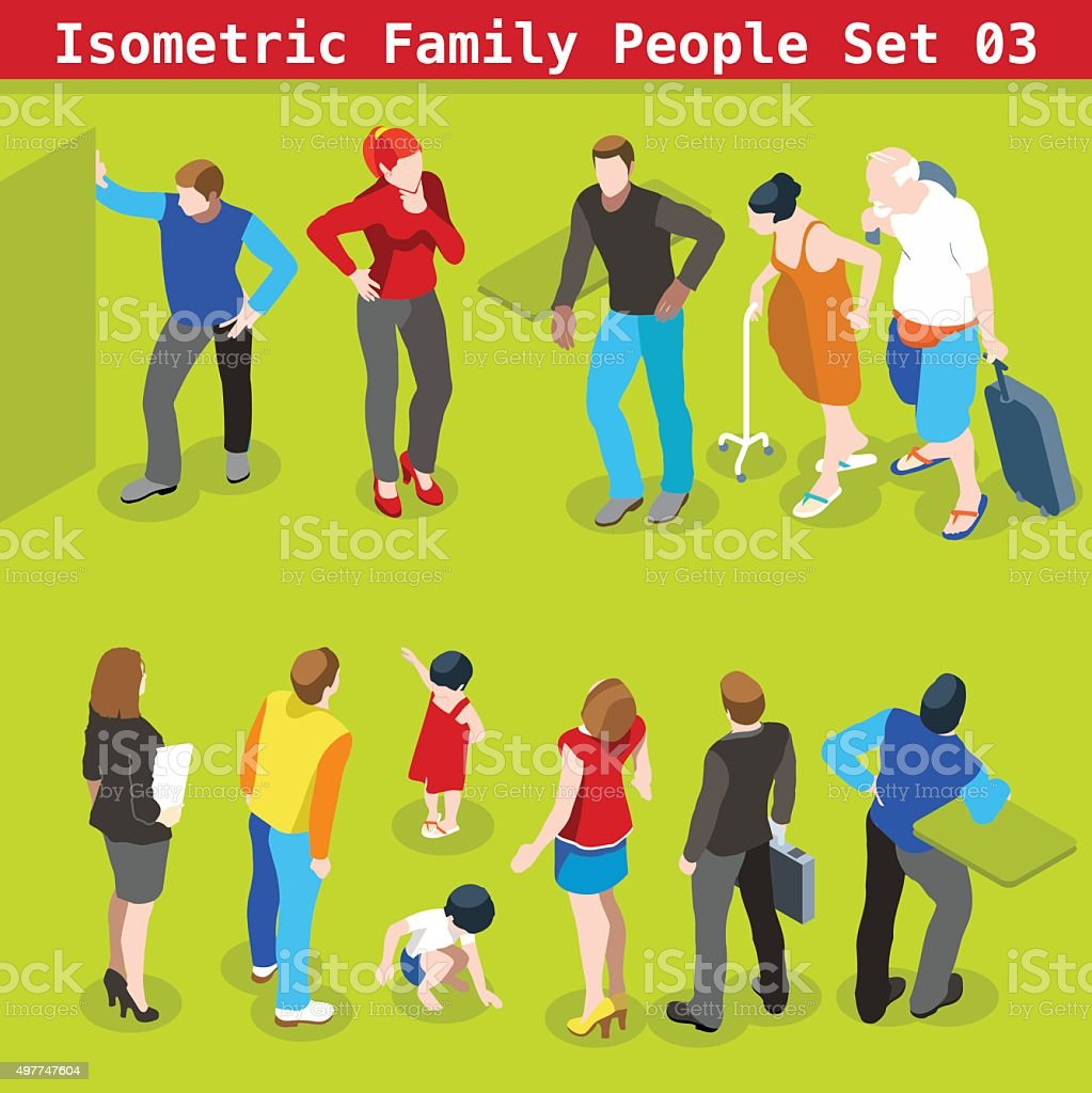Family Set 03 People Isometric vector art illustration