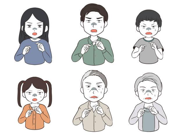 恐怖の中で設定された家族 (漫画) ベクターアートイラスト