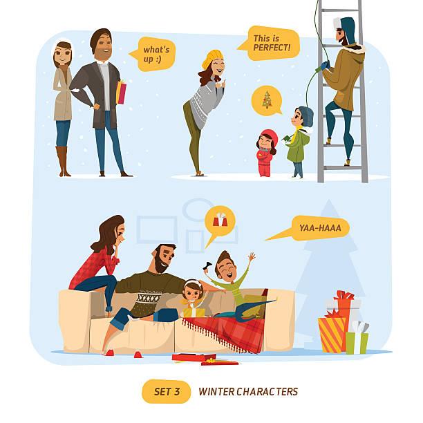 stockillustraties, clipart, cartoons en iconen met family set - family winter holiday