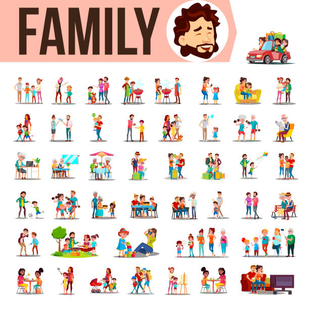 Family Set Vector. Lifestyle Situations. Spending Time Together At Home, Outdoor. Isolated Cartoon Illustration vector art illustration