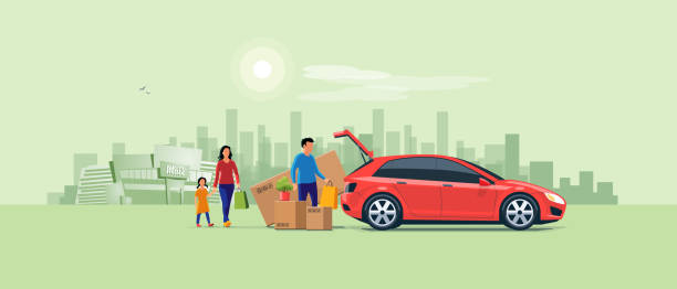 Family Shopping and Loading the Car Trunk with Purchase Flat vector illustration of a man with family coming from shopping and loading the car trunk with purchase carton boxes. Oversized big tv box doesn't fit. Shopping mall and city in the background. boot stock illustrations