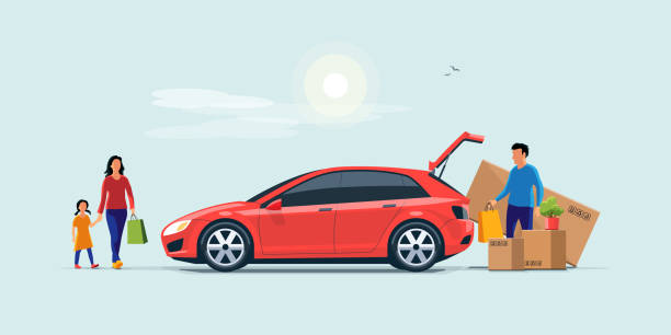 Family Shopping and Loading the Car Trunk with Purchase Flat vector illustration of a man with family coming from shopping and loading the car trunk with purchase carton boxes. Oversized big tv box doesn't fit. Isolated on blue background. hatchback stock illustrations