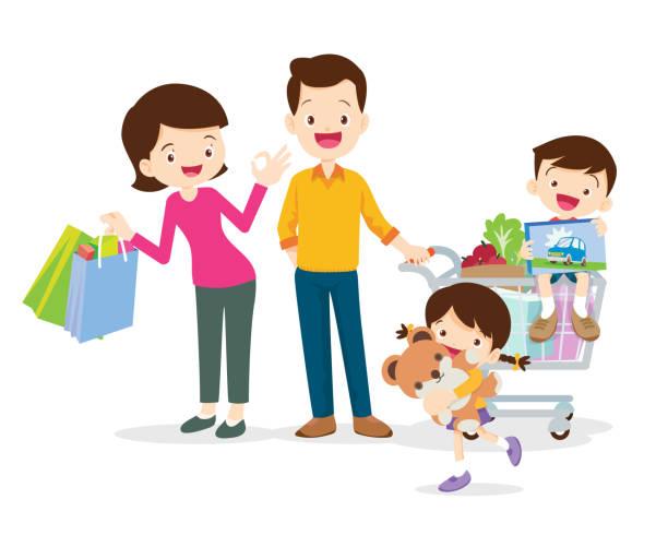 familie einkaufen zeichen - elternhochzeitsgeschenke stock-grafiken, -clipart, -cartoons und -symbole