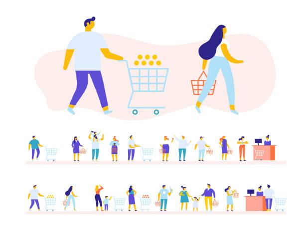 가족 쇼핑 슈퍼마켓 벡터에 설정합니다. - 시장 소매점 stock illustrations