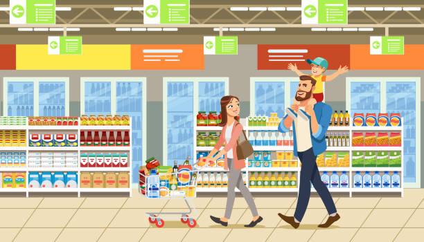 familie einkauf im supermarkt mit produkt-cart. lustige comic-figuren. eltern und kind im shop - elternhochzeitsgeschenke stock-grafiken, -clipart, -cartoons und -symbole