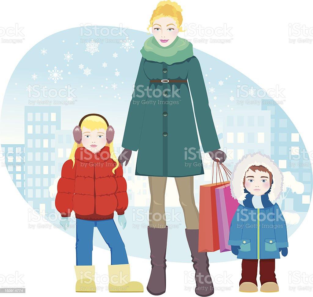 Family Shopping vector art illustration