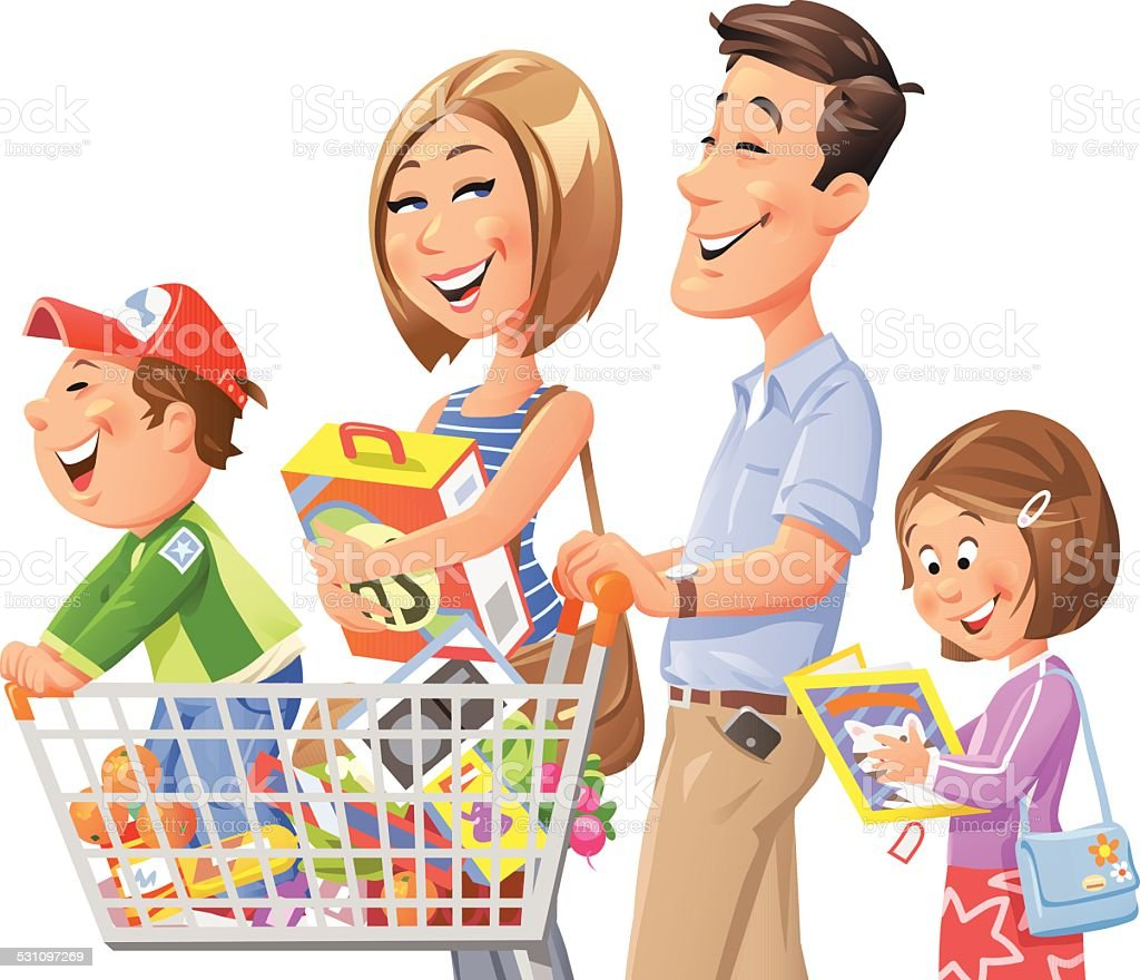Family Shopping Royalty Free Stock Vector Art