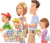 Illustration of a young family going shopping, isolated on white. The little son is standing in the shopping cart pushed by his father, the mother is carrying a box and and the daughter is reading a new book. In the shopping cart are fruits, vegetables and various household goods. EPS 10, grouped and labeled in layers.