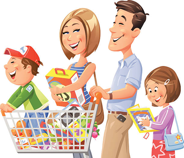 Family Shopping vector art illustration