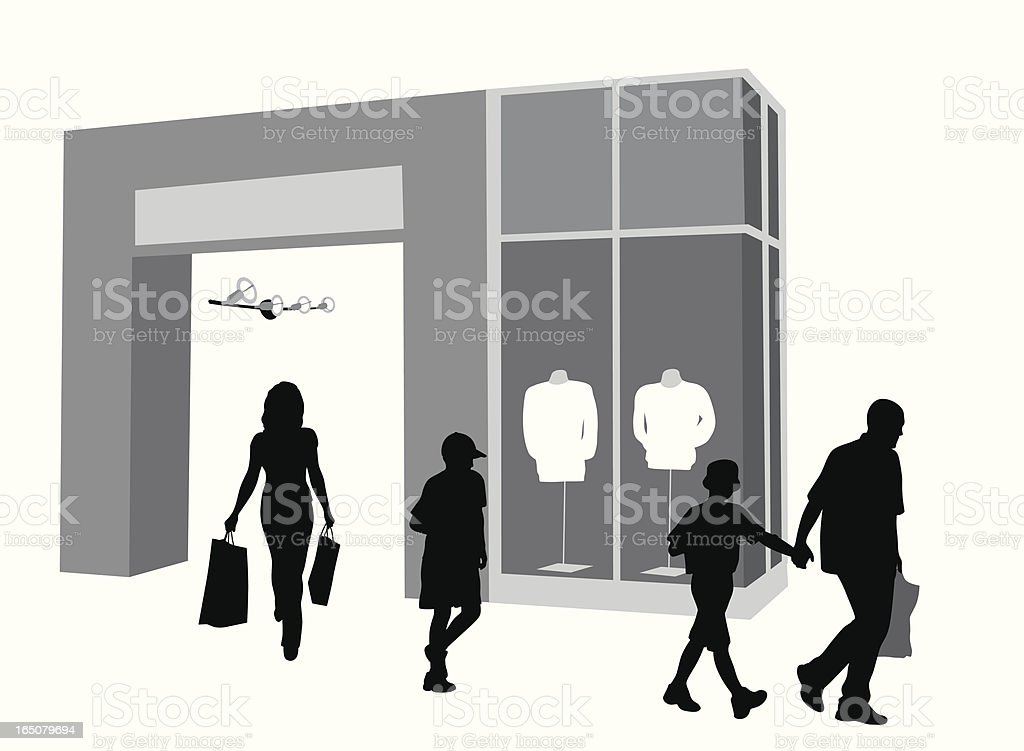 Family Shopping Vector Silhouette vector art illustration