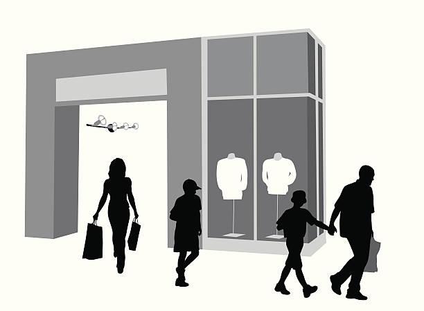 stockillustraties, clipart, cartoons en iconen met family shopping vector silhouette - warenhuis