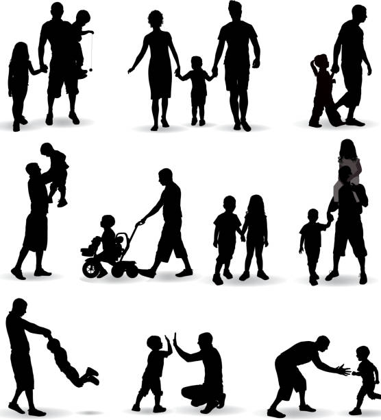 family silhouette - father stock illustrations, clip art, cartoons, & icons
