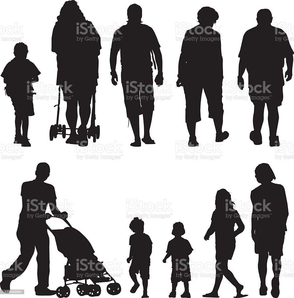 Family silhouettes III vector art illustration