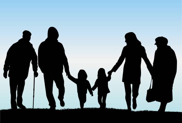 illustrazioni stock, clip art, cartoni animati e icone di tendenza di famiglia silhouette-illustrazione - nonna e nipote camminare