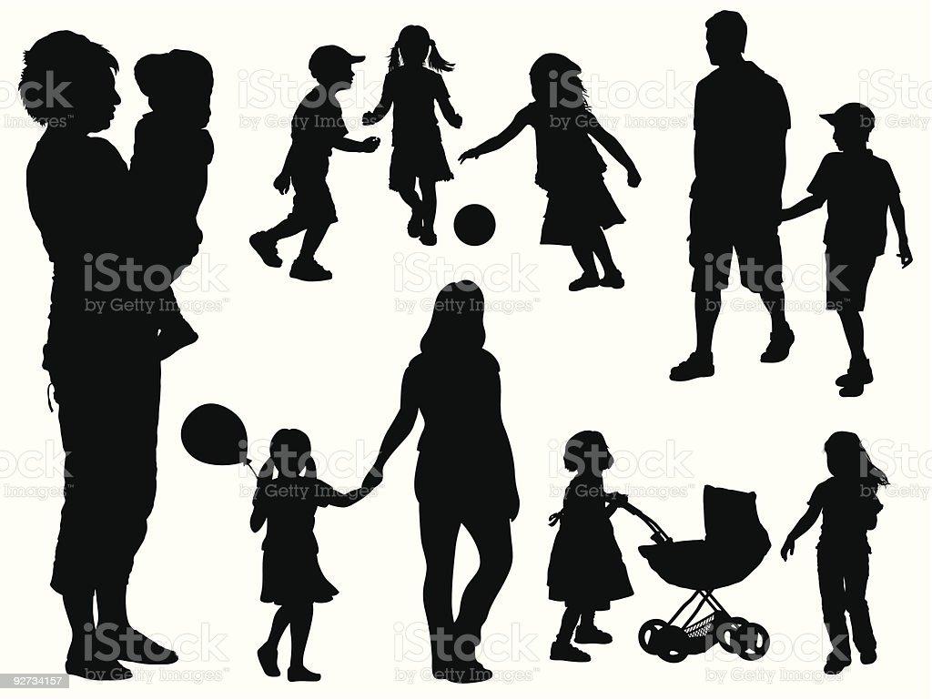 Family silhouettes in black against white background vector art illustration