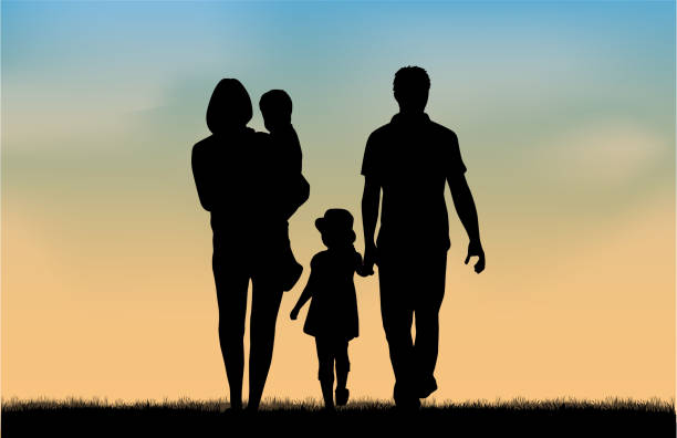 family silhouettes in nature. - family stock illustrations, clip art, cartoons, & icons