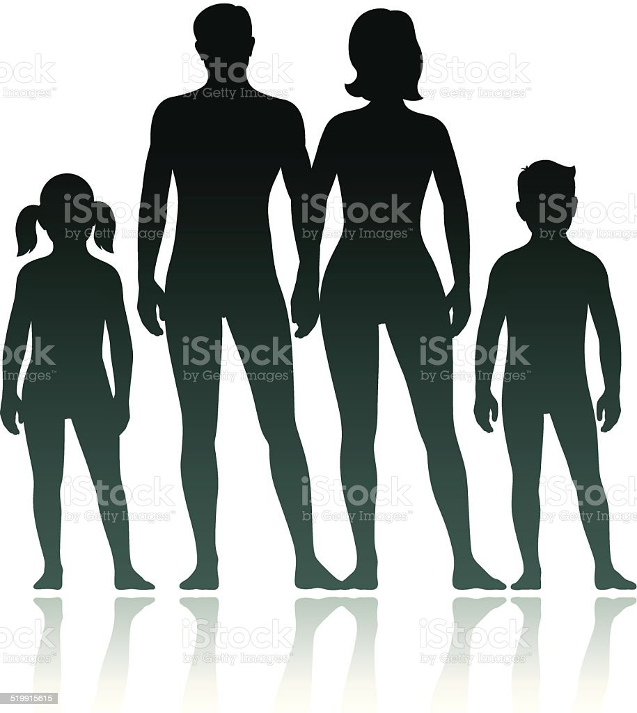 Family silhouettes: mother, father son and daughter vector art illustration