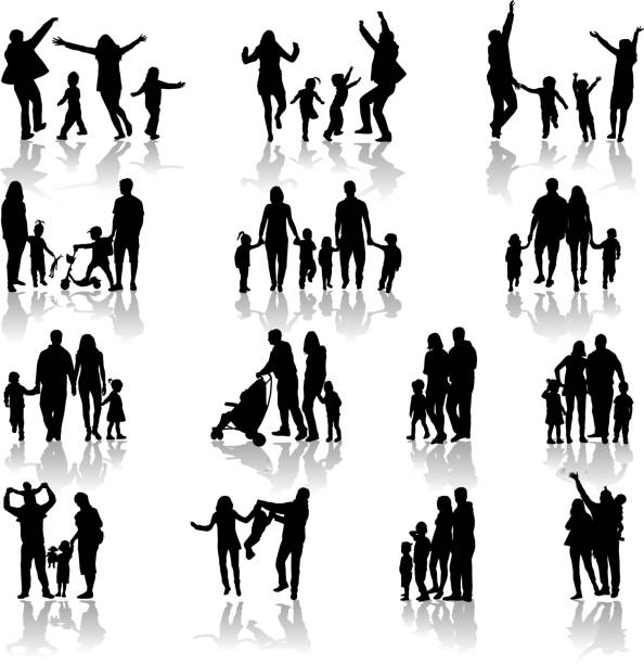 family silhouettes - happy family stock illustrations