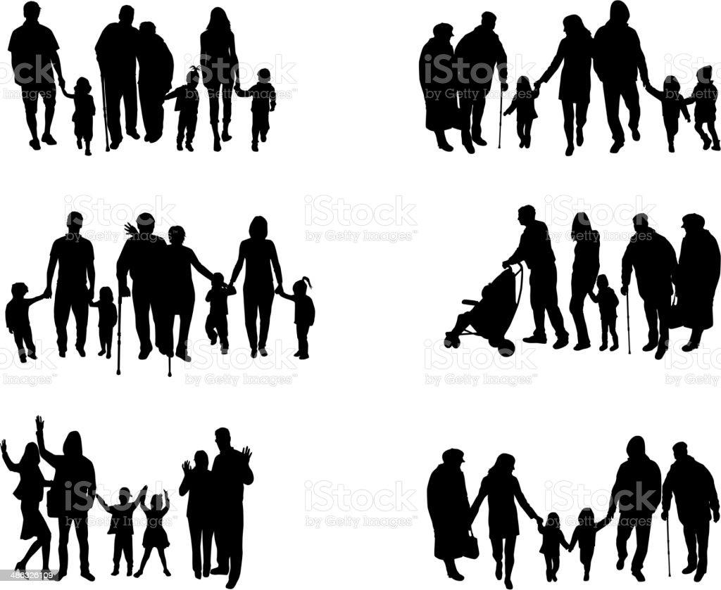 家族のシルエット ベクターアートイラスト