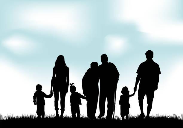 illustrazioni stock, clip art, cartoni animati e icone di tendenza di silhouette di famiglia - nonna e nipote camminare