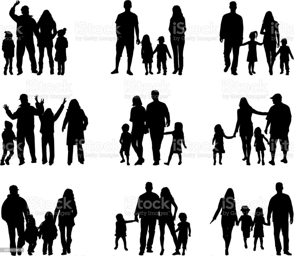 家族のシルエット - 2015年のベクターアート素材や画像を多数ご用意 - iStock