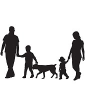 Family silhouettes with two children and dog