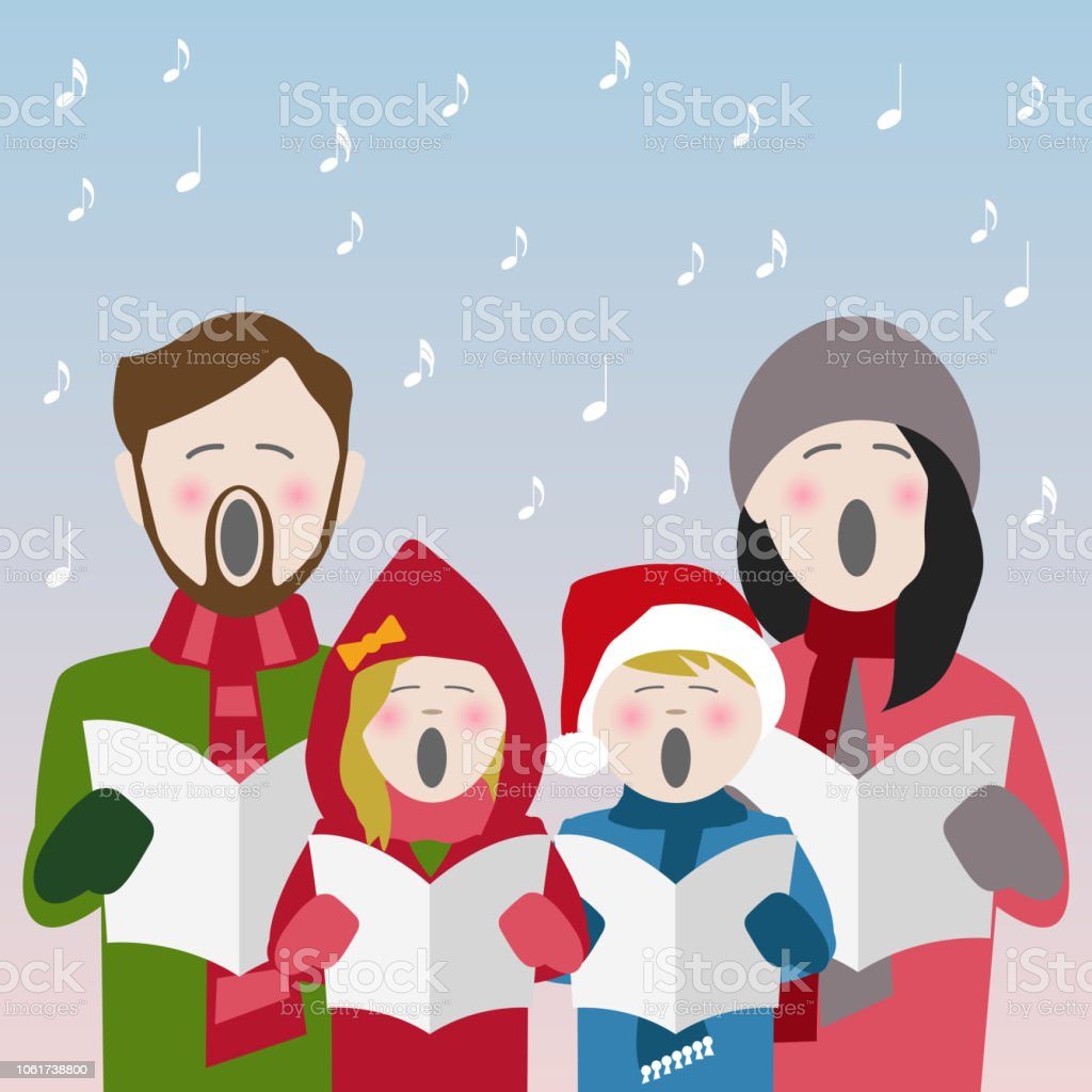 Christmas Caroles.Family Singing Christmas Carols Stock Illustration Download Image Now