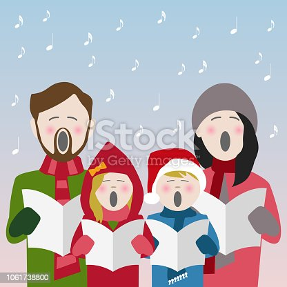familie singen weihnachtslieder stock vektor art und mehr. Black Bedroom Furniture Sets. Home Design Ideas