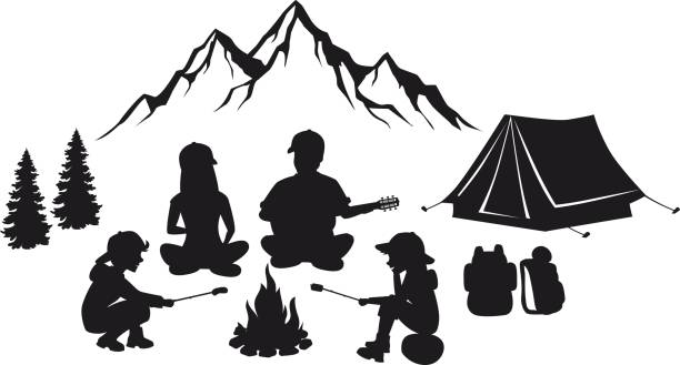 family sit around campfire silhouette scene with mountains, tent and pine trees. people camping outdoor - black and white mountain stock illustrations, clip art, cartoons, & icons